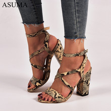 Women Summer Sandals Open Toe Snake PU leather Shoes Woman zapatos mujer Ladies Chunky High Heels Pumps chaussure femme 2019