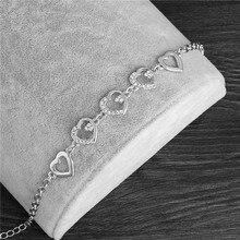 MISANANRYNE Летний стиль романтическое сердце браслет Femme серебряный цвет женские свадебные хрустальные Браслеты Ювелирные Украшения FH374