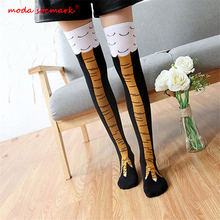 High Quality Creative Chicken Women Over the Knee Socks Cartoon Cotton Claw Ladies 3D Print Funny Animal