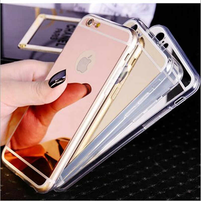 Luxury Plating Mirror TPU Silicone Frame Case Fundas for iPhone 6 S 6S 5 5S SE 7 8 Plus x 10 Cover Soft Back Phone Bag Cases