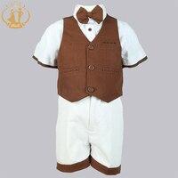 Nimble New Arrival Baby Boys School Set Brown Party Wear Children Cloth Four Pieces Vest+Pant+Shirt+Bow