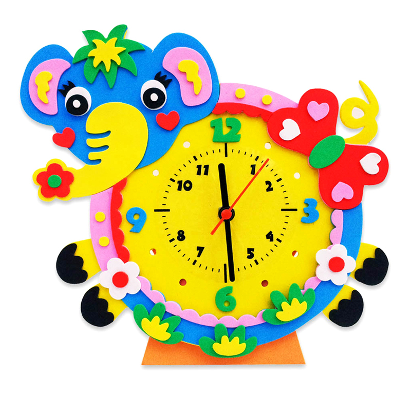 EVA Handmade DIY 3D Animal Clock Kids