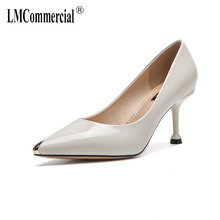 Spring new pointed popular metal solid color paint high heel fashion shoes women platform shoes luxury shoes women designers