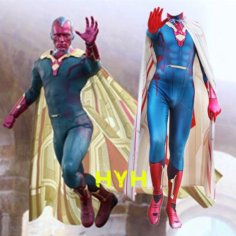 Vision Cosplay Costume Superhero Avengers Jumpsuit Zentai Suit Spandex Clothes