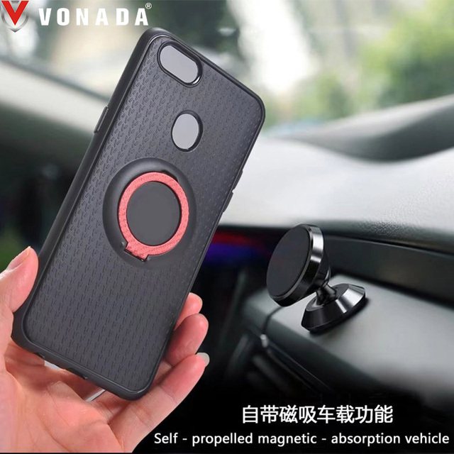 Vonada case for oppo f5 a79 business pc finger ring magnetic card vonada case for oppo f5 a79 business pc finger ring magnetic card holder tpu rubber reheart Gallery