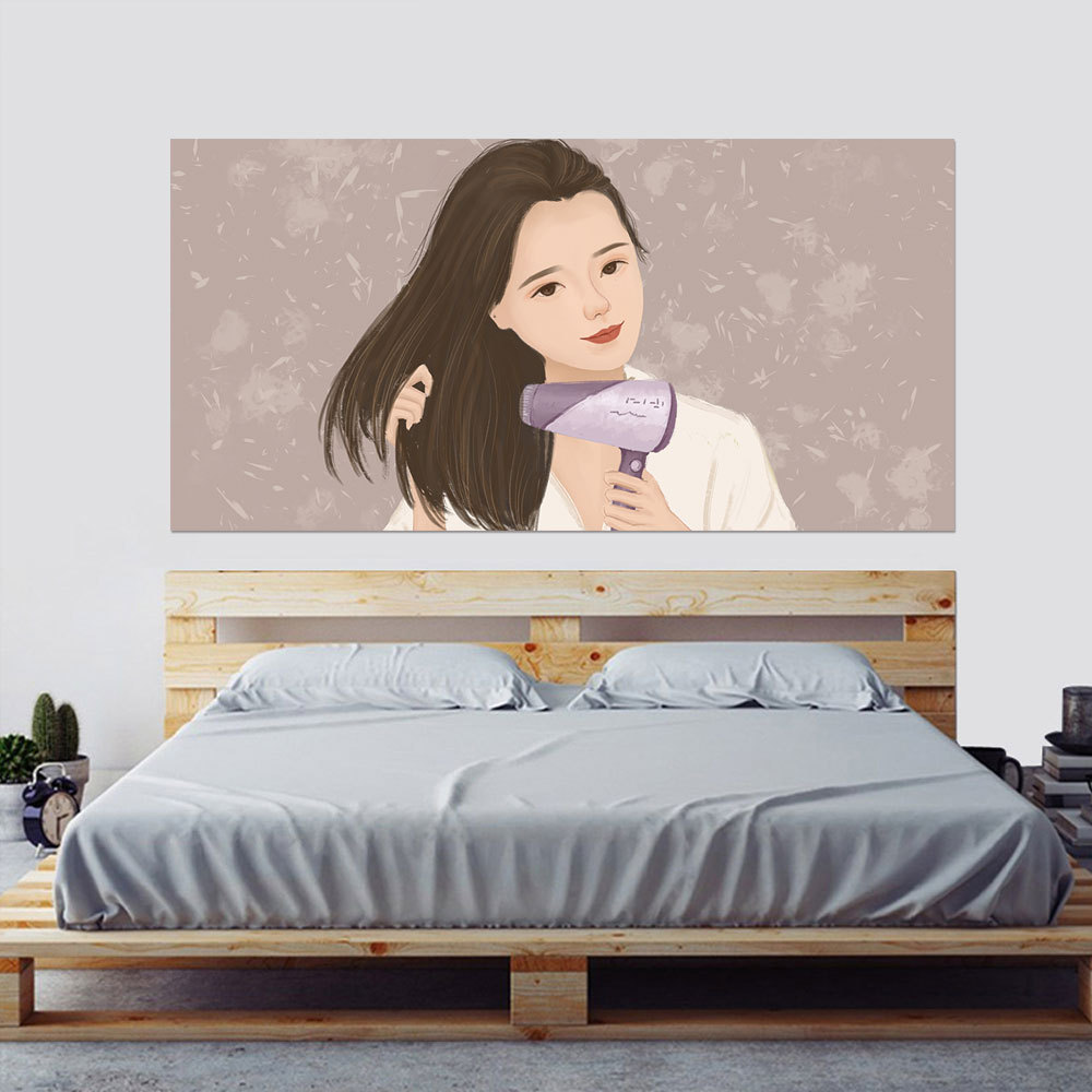 3D Headboard Wearing Earrings Blowing Hair Face Bubble Lipstick Blue Long haired Beauty Girl Home Decor Mural Paste 90x180cm in Wall Stickers from Home Garden