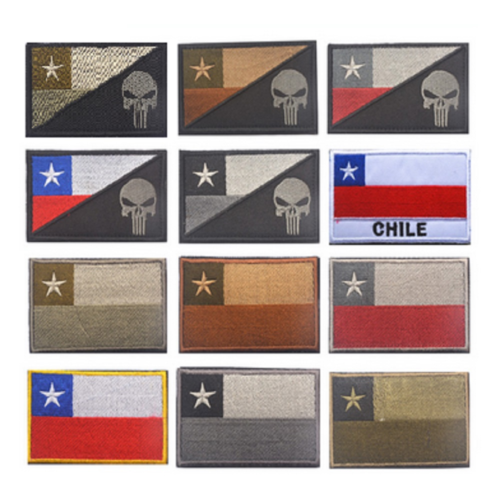 3D høj kvalitet 100% broderi patches Hook & Loop punisher patches armbånd Chile Flag patch Tactical Military Morale badges