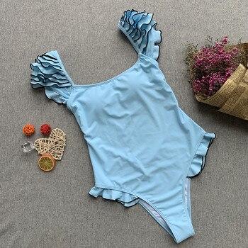 2019 Summer Sexy swimsuit Women Solid Padded One Piece Suit Swimwear Monokini Bikinis Ladies One-piece Bathing Suit body suit 1