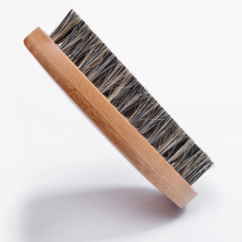 8cm Men Boar Hair Bristle Beard Brush Shaving Comb Face Massage Handmade Yellow Mustache Brush Beauty Care Drop Shipping  2
