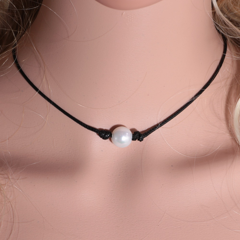 2019 New Fashion Black Wax Rope Women Choker Necklace White Perfect Imitation Pearl choker necklace Pearl Jewelry