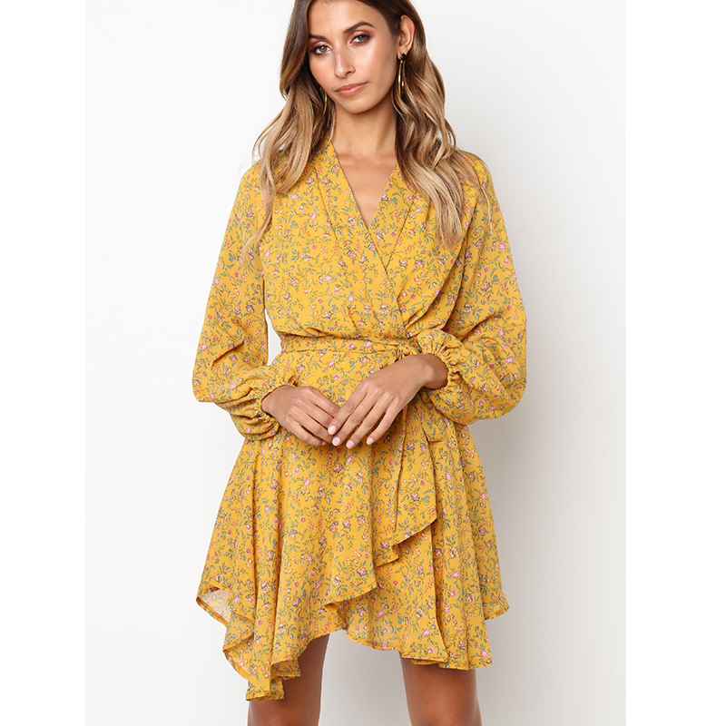 1c714b475350 Wrap Dress Floral Long Sleeve Dress Women Hippie Boho Bohemian Clothes  Vestidos Verano 2018 Yellow Robe Femme Vintage Dresses Free Shipping  Wholesale And ...