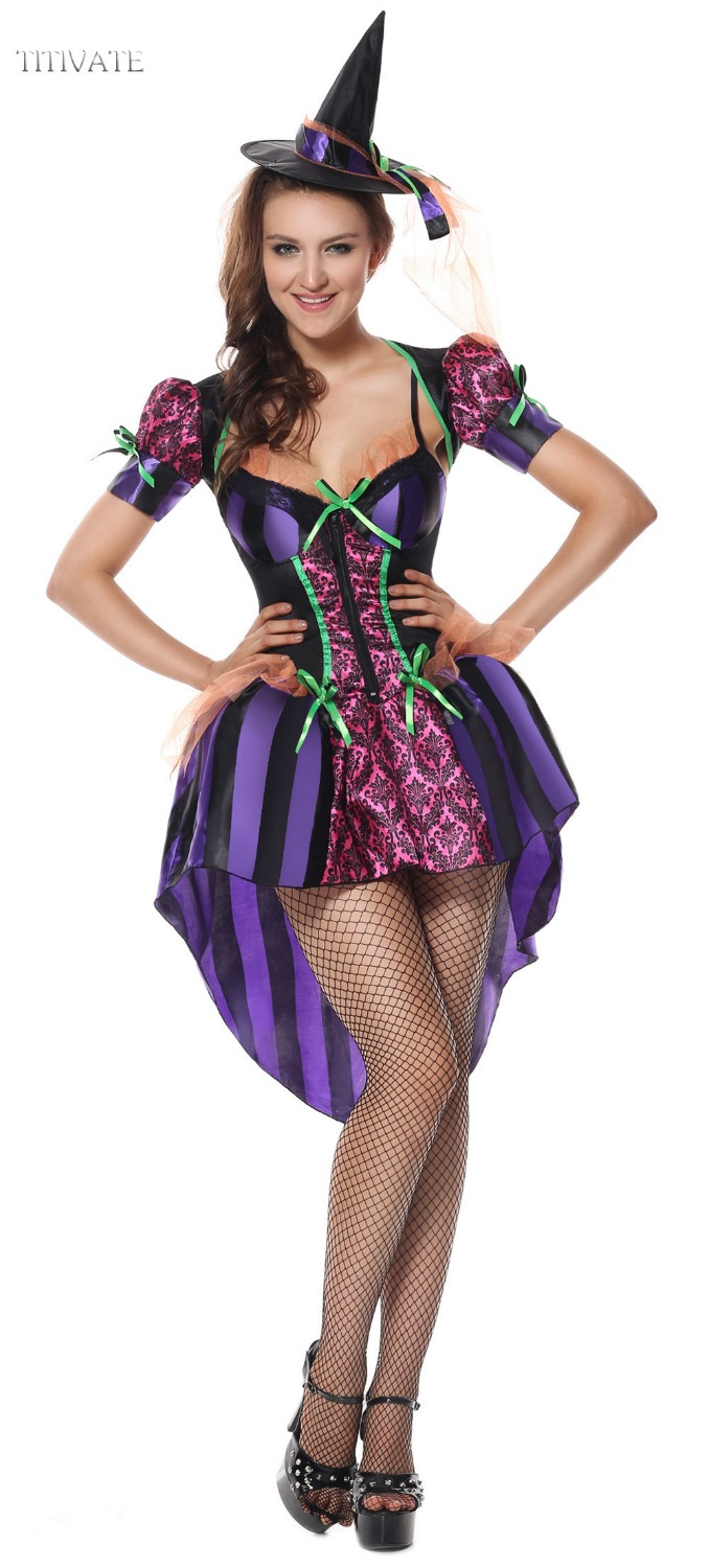 TITIVATE Magic Witch Costume Halloween Carnival Hen Party Cosplay Costumes Zipper Outfit Fancy Dress + Cap M XL For Women