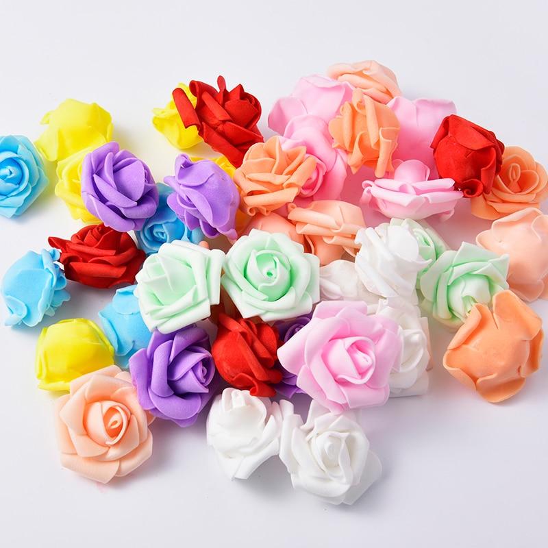 4,5 см 50 шт./лот искусственный цветок голову пенополиэтилен Роза дома Свадебные украшения DIY Craft Скрапбукинг венок поддельные декоративные розы