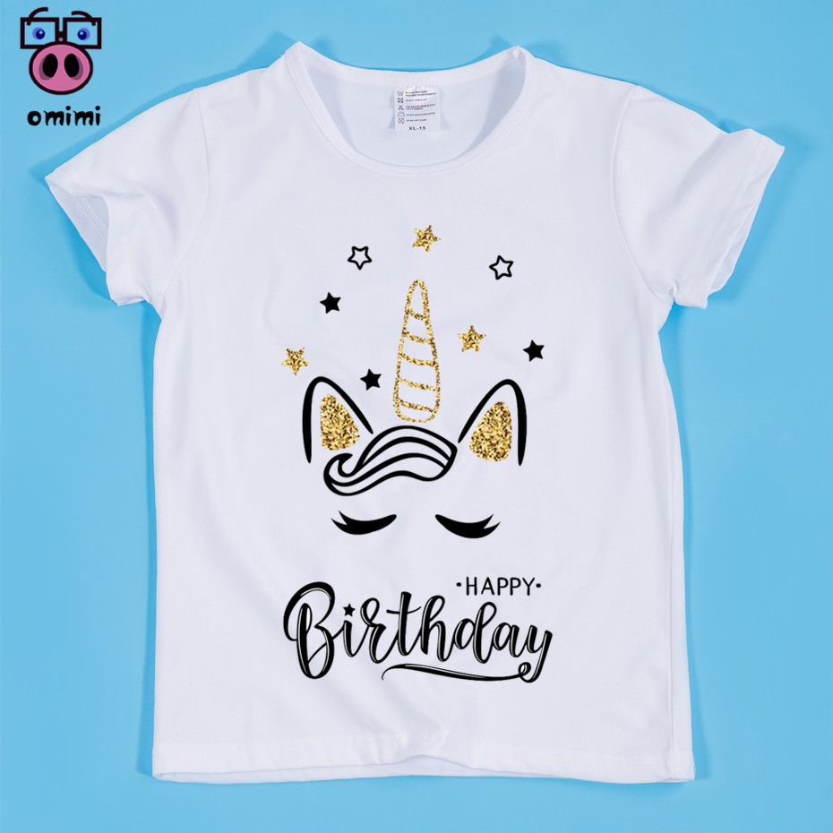 Girls Cute Unicorn Happy Birthday Kawaii Design Print T Shirts Children Baby Fille Shirt Enfant Rock Clothing In From Mother Kids On