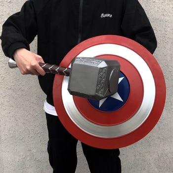 Thor Mjolnir Cosplay Avengers Endgame Costume Accessory Avengers Hammer Captain America Weapon Halloween Carnival Party Props avengers weapon superhero thor hammer full metal 1 1 mjolnir cosplay hammer thor odinson quake martillo collection model toy