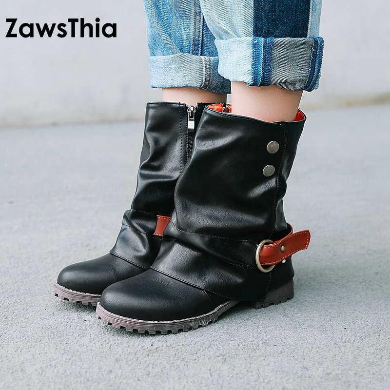 ZawsThia 2018 winter new woman shoes punk motorcycle boots stylish women ankle boots with buckle flat heel martin boots size 43