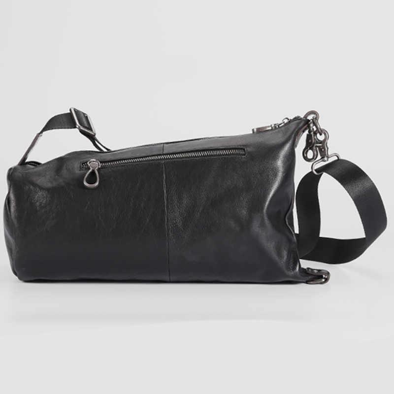 Bolsa de pecho AETOO de cuero masculino versión coreana de un solo hombro oblicuo Cruz bolsa personalidad marea retro ocio cilindro bolsa