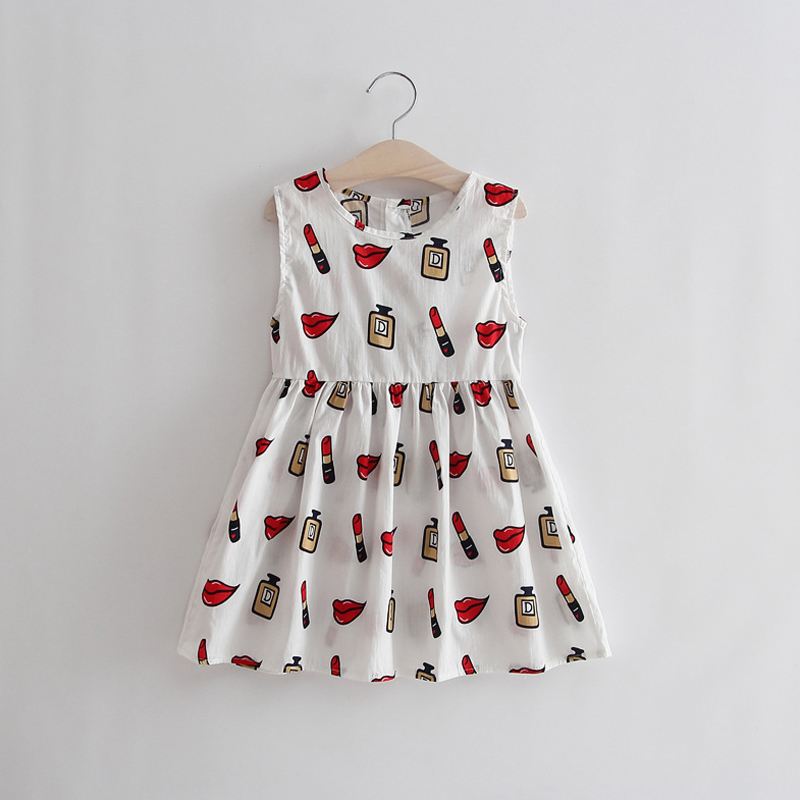 2017 Summer Style Girls Dress Cotton Kids Dresses New Fashion Sleeveless Print Princess Girl Clothes For 3-11Y Children XL121