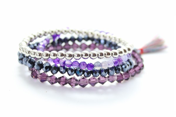New Tel Bracelet Set Fashion Stacking Purple Crystal Stone Beads Bracelets Stretch Women Jewelry China