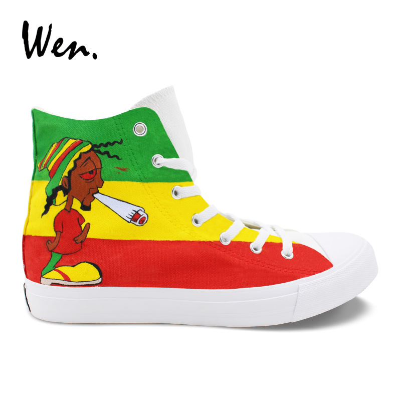 Wen Design Custom Hand Painted Graffiti Shoes Reggae High Top Canvas Sneakers Womens Mens Outdoor Shoes Fashion Footwear