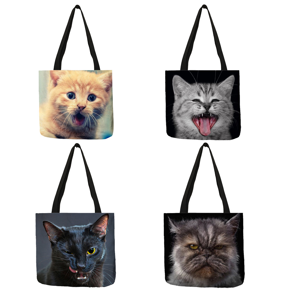 3 D Vivid  Cat Reusable Shopping Bag Women Casual Totes Bags With Print Linen Handbags