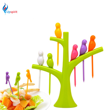 Upspirit Tree Birds Design Rainbow Plastic Fruit Forks Set Party Dessert Cake Fruit Picks 1 Stand + 6 Forks Kitchen Accessories