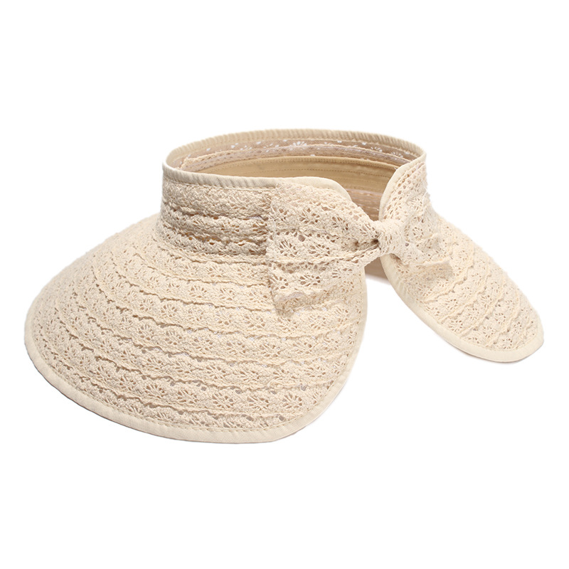 f022ed3e26062 Summr Women Casual Sun Visor bowknot Hat Beach Empty hat Ladies Adjustable  Nature lace Straw Topless Cap-in Sun Hats from Apparel Accessories on ...