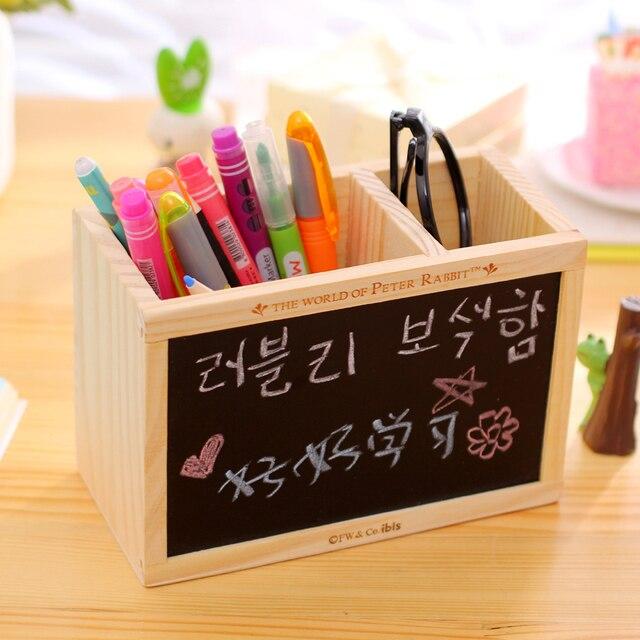 Cute Wooden Desktop Pencil Holder Pen Holder with Blackboard Burlywood Wood  Pencil Vase Brush Pot Pen