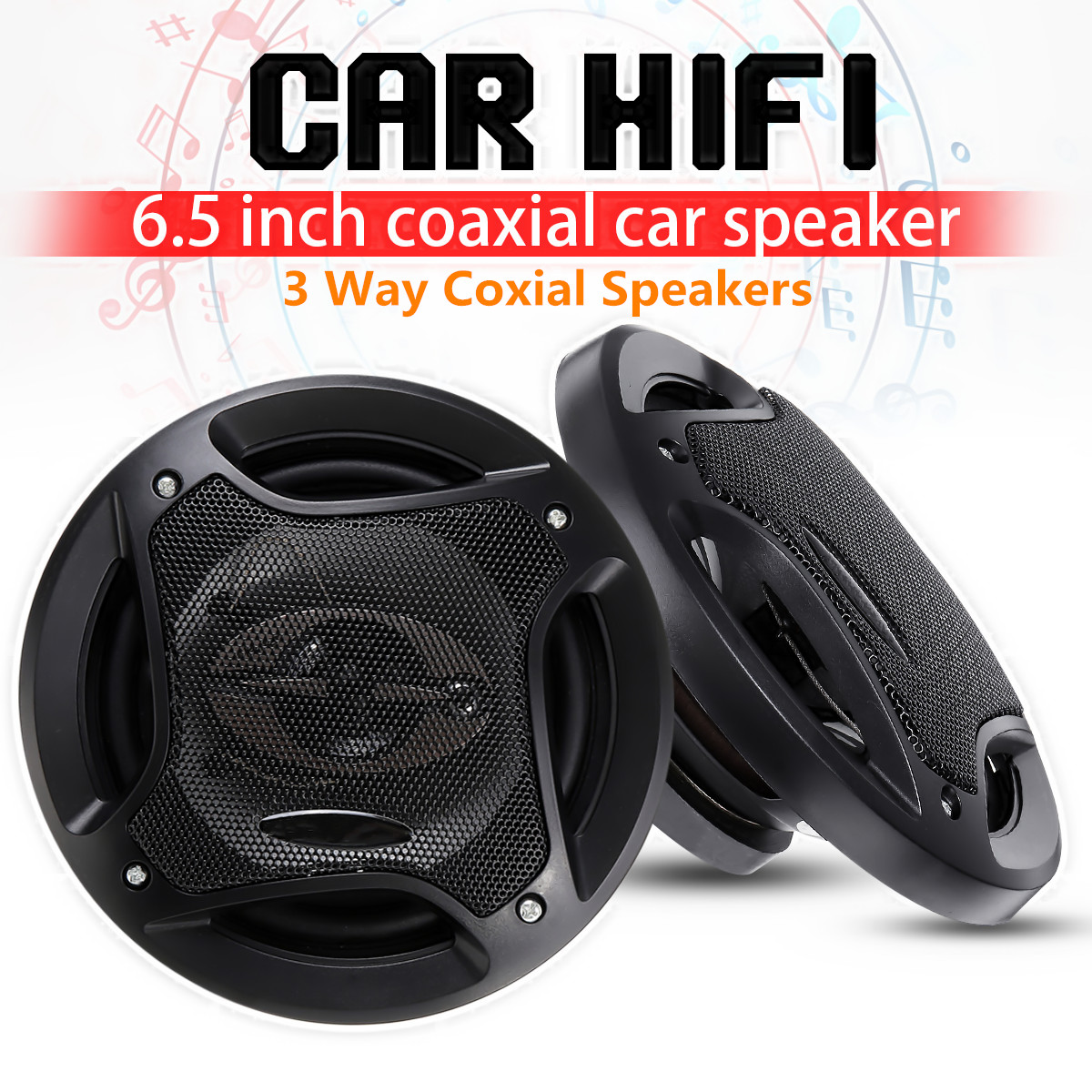 2pcs 6.5 inch 400W 3 Way Auto Car Loudspeaker Coaxial Speakers Horn Audio Music Stereo Hifi Vehicle Car Speaker and Subwoofer red mock neck lettuce edge hem mini dress