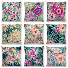 Hot Sale Beautiful Flowers Watercolor Art Paradise Flourish Floral Gardens Delight Colorful Cushion Home Decor Sofa Throw Pillow