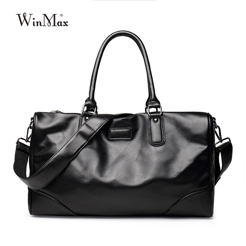 Winmax sport sac de sport hommes doux PU cuir grande capacité Fitness voyage Duffle Totes poignée supérieure bagages sacs à main sacs à bandoulière