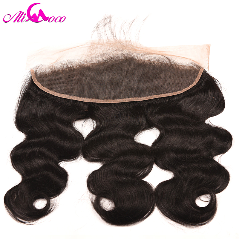Ali Coco Hair Brazilian Body Wave Lace Frontal Closure With Baby Hair 100% Human Hair 8-20 Non Remy Hair Natural Color