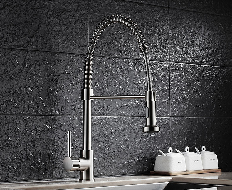 Free shipping Kitchen Sink Faucet Brushed nickel Single Hole Pull Down deck mounted pull out spary group 10 cup pull 3 in c c polished nickel
