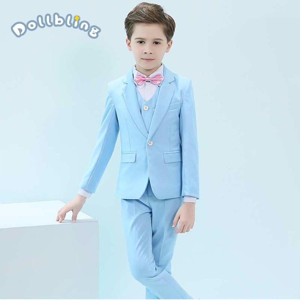 Autumn Kids Suits Blazers 2019 Fashion Costume Baby Boys Shirt Coat Tie Vest Suit Boys Formal For Wedding Wear Children Clothing