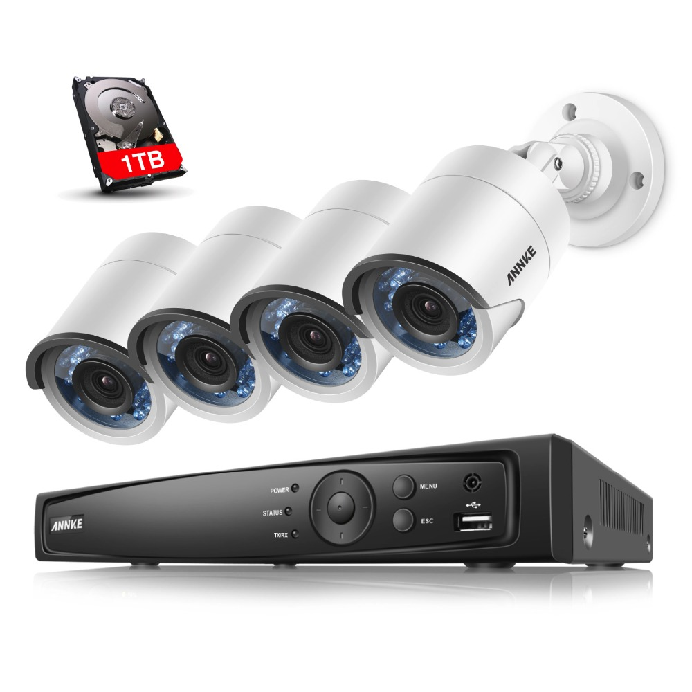 ANNKE 1TB 8CH 1080P DVR 4in1 Weatherproof Security Camera 2MP System IR Led HDMI