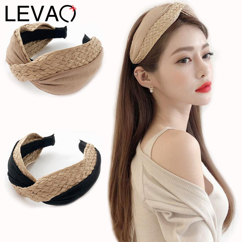 LEVAO Korean Style Solid Knotted Handmade Straw Headband Bezel Turban for Women Girls Hoop Hairbands Hair Accessories   Headwear