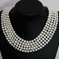 New fashion women natural white pearl long chain necklace round beads 7-8,8-9mm fashion custume elegant jewelry 100inch B1463