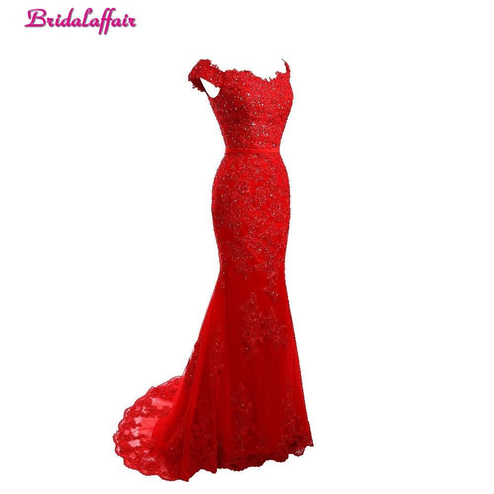 Robe De Soiree Boat Neck Long Mermaid   Evening     Dress   2019 New Elegant vestido rojo trumpet Formal Red   Dress   With Train Prom Gown