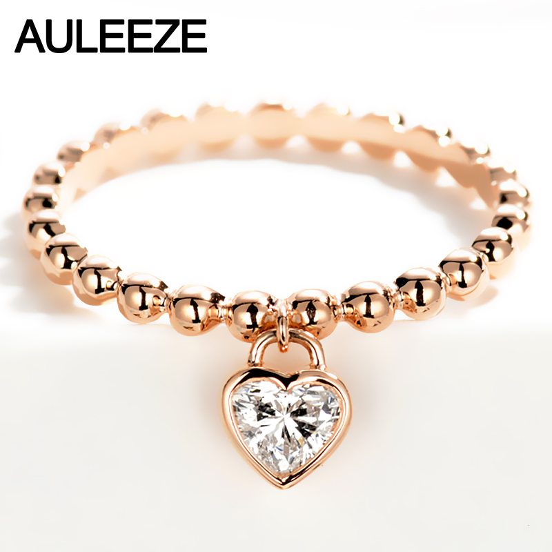 AULEEZE Genuine SI H 0.3ct Natural Diamond 750 18K Rose Gold Solitaire Engagement Ring Heart Shape Real Diamond Fine Jewelry