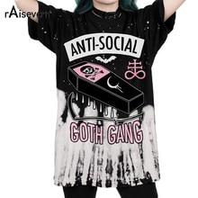 Raisevern nova anti-social 3d impressão t camisa goth gang harajuku punk camiseta estilo verão roupas topos mais tamanho transporte da gota