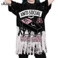 Raisevern novo anti-social 3d impressão t camisa goth gang harajuku punk camiseta estilo verão roupas topos mais tamanho dropship
