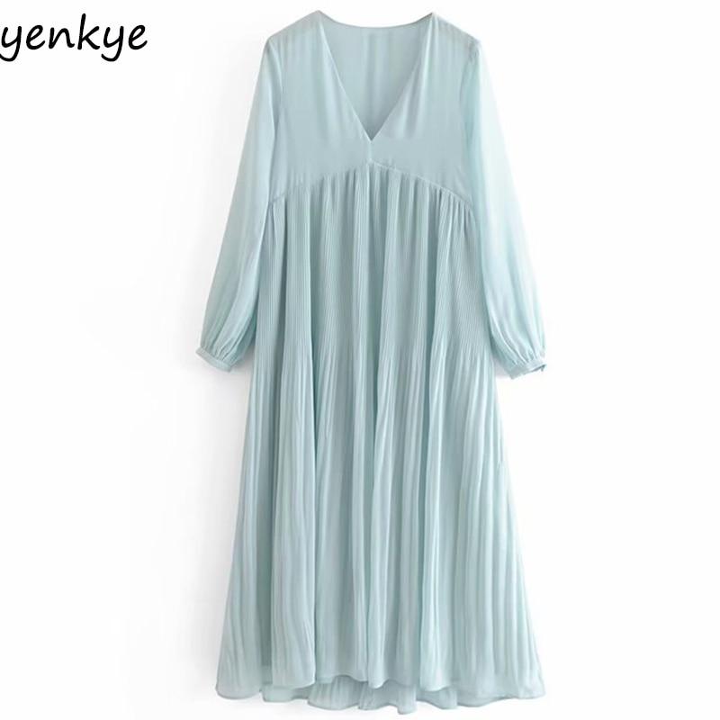 Elegant Women Solid Color Flowy  Pleated Long Dress Lady Long Sleeve V Neck High Waist Chiffon Summer Long Dress Robe Longue
