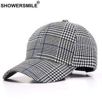 SHOWERSMILE Houndstooth Baseball Caps Women Plaid Casual England Style Snapback Caps Men Adjustable Vintage Hat Cap New Fashion бейсболк мужские