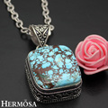 Hermosa Jewelry Exquisite beauty Natural Vintage SquareTurquoise 925 Sterling Silver Necklaces Pendants HF941