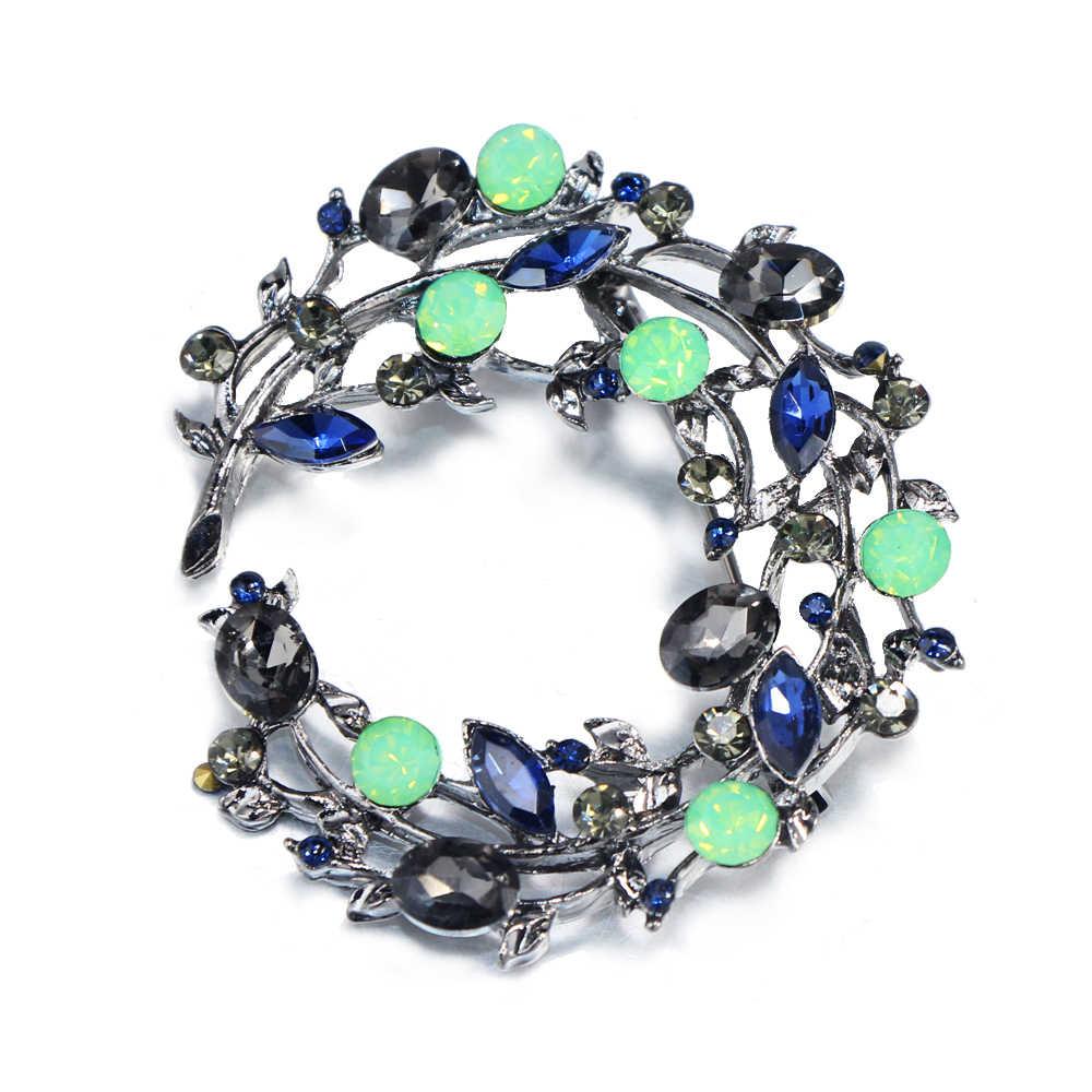 Flatfoosie 2018 Warna-warni Alam Batu Antik Daun Bros Pins Biru Kristal Besar Bros untuk Wanita Pernikahan Aksesori Perhiasan