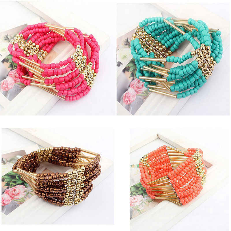 1 pc Bohemian Style Charming Multilayer Beaded Bracelet Womens fine Jewelry arty Gift Hot High quality