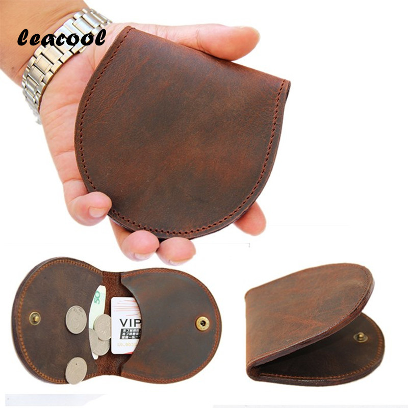 LEACOOL 100% Handmade European Retro Small Coin Purse Mini Round Wallet Bag Zipper Coin Pouch Purse Holder Hot Women Coin Wallet