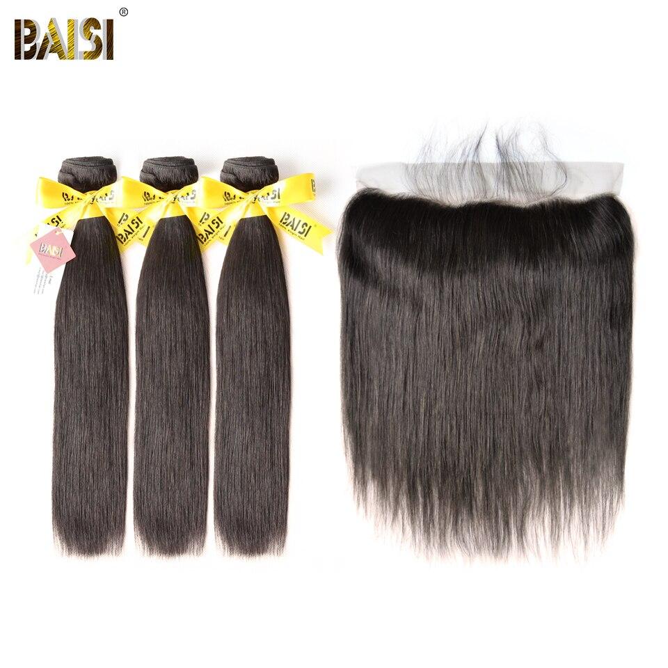 BAISI Hair Indian Virgin Straight Hair 100 Unprocessed Human Hair 3 Bundles with 13x4 Frontal