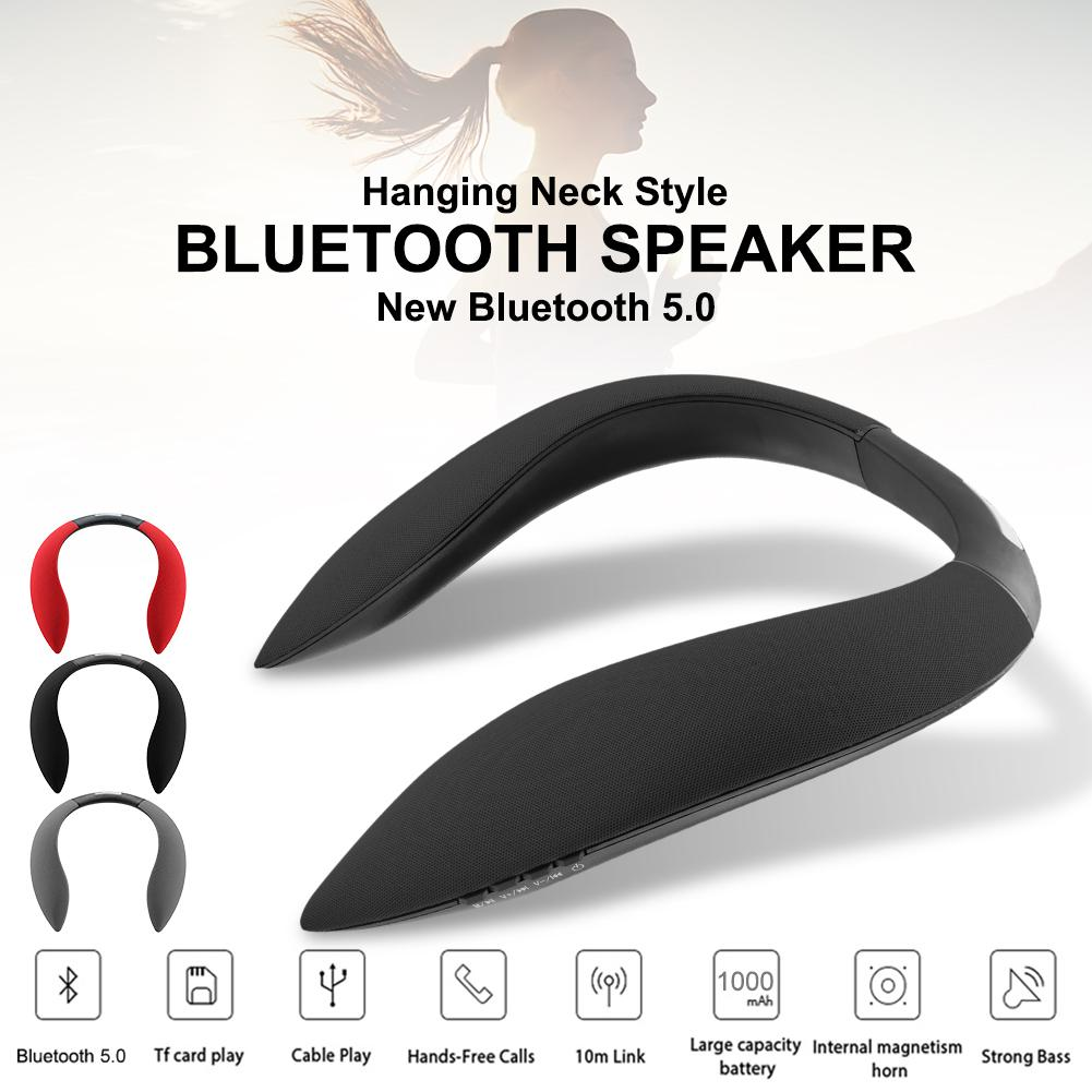 Style de cou suspendu haut-parleur Bluetooth multi-fonction Surround stéréo Radio haut-parleur de sport dispositif Audio Support Micro SD TF carte
