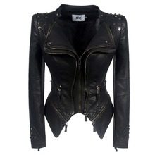 SX2018 Coat HOT Women Winter Autumn Black Fashion Motorcycle Jacket Out